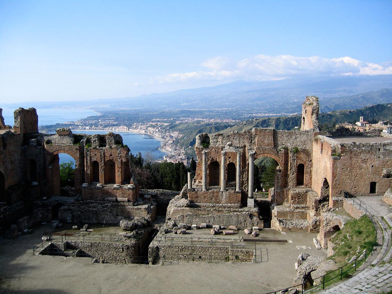 """Taormina-Teatro Greco01"" by Evan Erickson - Own work. Licensed under Public domain via Wikimedia Commons - http://commons.wikimedia.org/wiki/File:Taormina-Teatro_Greco01.JPG#mediaviewer/File:Taormina-Teatro_Greco01.JPG"